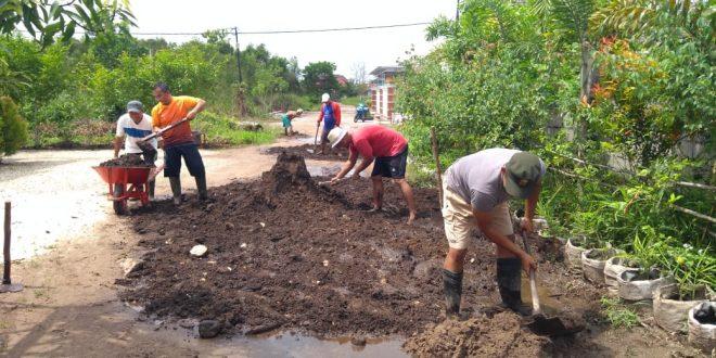 Antusias Warga Bergotong Royong Perbaiki Jalan Berlobang
