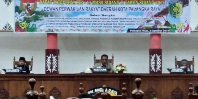 DPRD Kota Palangka Raya Setujui Perubahan APBD Tahun 2019