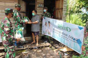Kodim 1016 Palangka Raya Bersama Abdul Rasyid Foundation Distribusikan Bantuan Sembako Secara Door to Door